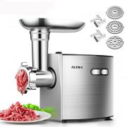 Electric Meat Grinder, ALTRA Stainless Steel Sausage Stuffer Maker & Meat Mincer Machine【2000W Max ETL Approved】 with 3 Grinding Plates, 2 Blades, Sausage & Kubbe Kit, Kitchen & Commercial Use, Silver